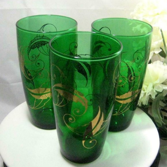 3 vintage Tumblers emerald green w/ gold leaves
